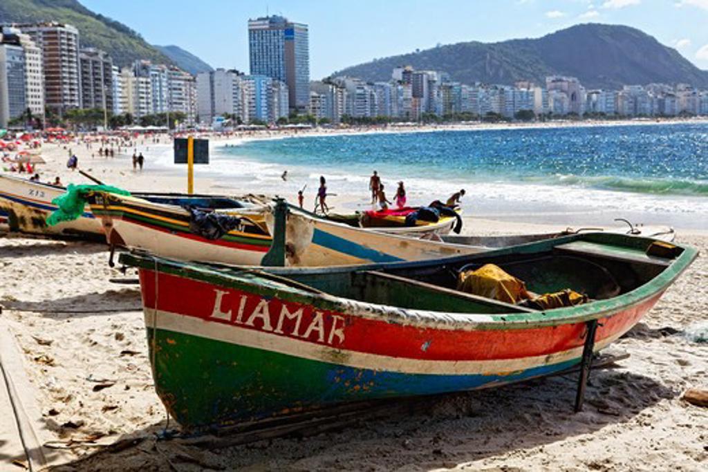 Brazil, Rio de Janeiro, Copacabana beach, Old Fishing Boats on Beach : Stock Photo