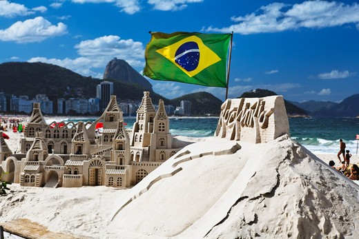 Brazil, Rio de Janeiro, Copacabana beach, Sand Castle on Beach : Stock Photo