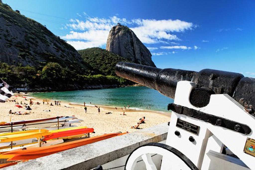 Stock Photo: 1774-693 Brazil, Rio de Janeiro, Vermelha Beach, Old Cannon Overlooking beach