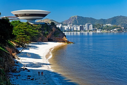 Brazil, Niteroi, Contemporary Art Museum, skyline and beach : Stock Photo