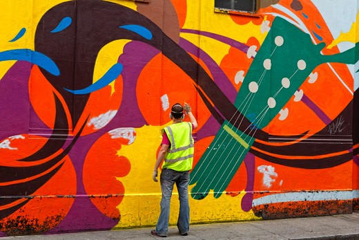 Stock Photo: 1774-701 Ireland, Dublin, Temple Bar, Mural Painter