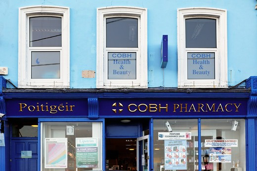 Ireland, County Cork, Cobh City, Pharmacy, House Facade : Stock Photo