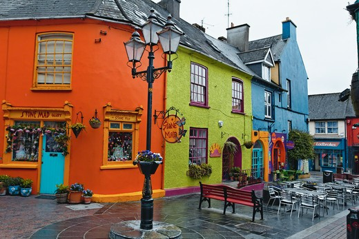 Ireland, County Cork, Kinsale, Colorful Houses on Market Street : Stock Photo
