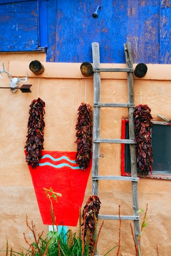 USA, New Mexico, Truchas, Wall of house with chile ristras : Stock Photo