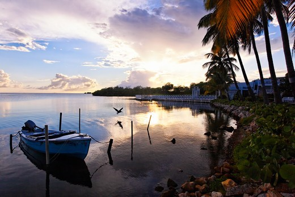 Stock Photo: 1774-723 Puerto Rico, La Parguera, Fishing village at sunset