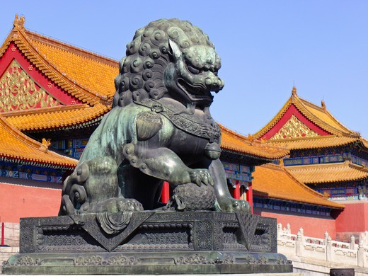 China, Beijing, Forbidden City, Close up of Imperial Guardian Lion statue : Stock Photo