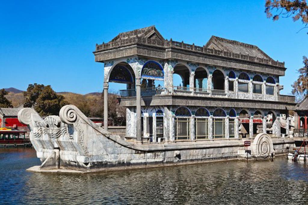 Stock Photo: 1774-727 China, Beijing, Summer Palace, Marble Boat on Kunming Lake