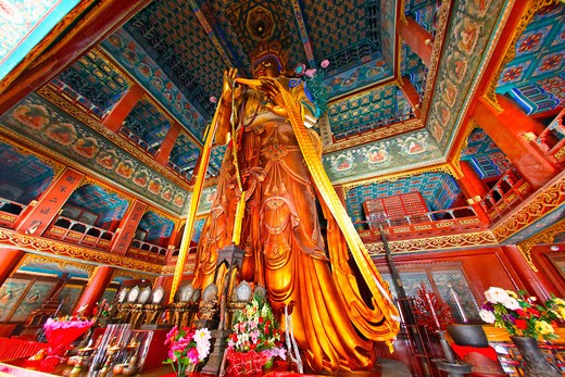 Stock Photo: 1774-732 China, Beijing, Giant Buddha Statue in YongHeGong Lama Temple
