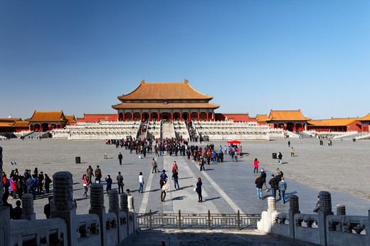 Stock Photo: 1774-741 China, Beijing, Forbidden City, Taihedian Square with The Hall of Supreme Harmony