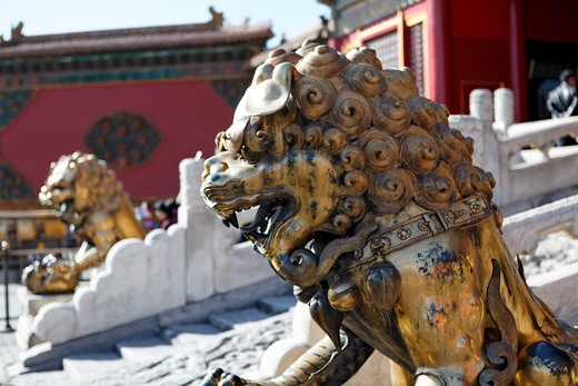 China, Beijing, Forbidden City, Guardian Lion Sculpture at Gate of Heavenly Purity : Stock Photo