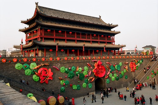 China, Shaanxi, Xi'an City Walls decorated for Chinese New Year Celebration : Stock Photo