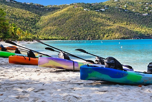 Stock Photo: 1774-744 USA, Virgin Islands, St Thomas, Magens Bay, Kayaks for rent on beach