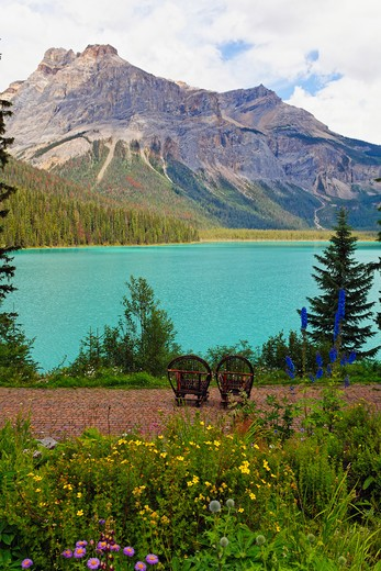 Canada, British Columbia, Emerald Lake, Two Chairs at Lakeside : Stock Photo