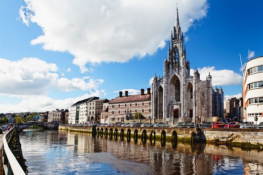 Republic of Ireland, County Cork, Cork City, View of Holy Trinity Church on River Lee : Stock Photo