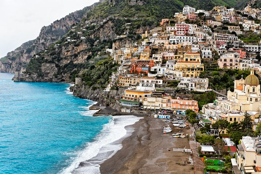Stock Photo: 1774-779 Italy, Campania, High Angle Close Up View of Beach and Town of Positano