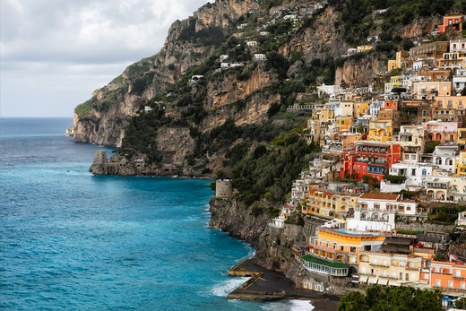 Stock Photo: 1774-780 Italy, Campania, High Angle View  of Positano