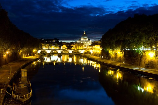 Italy, Lazio, Rome, Night View of Tiber River with Vatican City in Background : Stock Photo