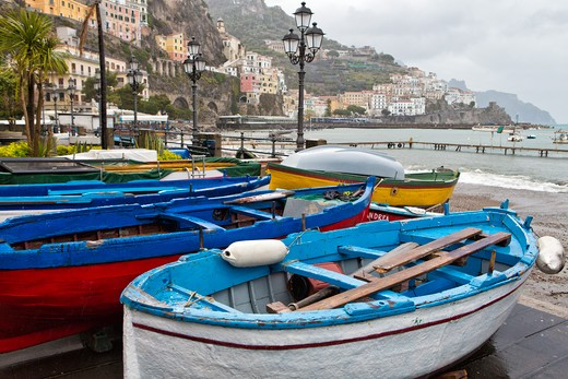 Stock Photo: 1774-782 Italy, Campania, Amalfi, Old Fishing Boats on Shore