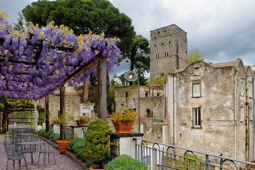 Stock Photo: 1774-783 Italy, Salerno County, Ravello, Villa Rufulo, Terrace with Pergola and Blooming Wisteria