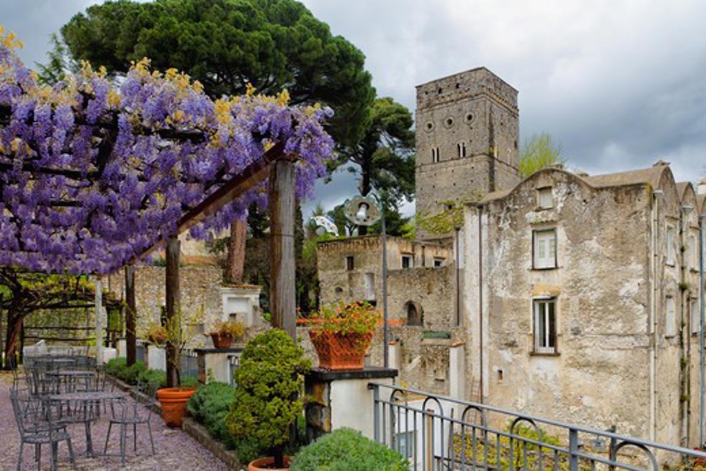 Italy, Salerno County, Ravello, Villa Rufulo, Terrace with Pergola and Blooming Wisteria : Stock Photo