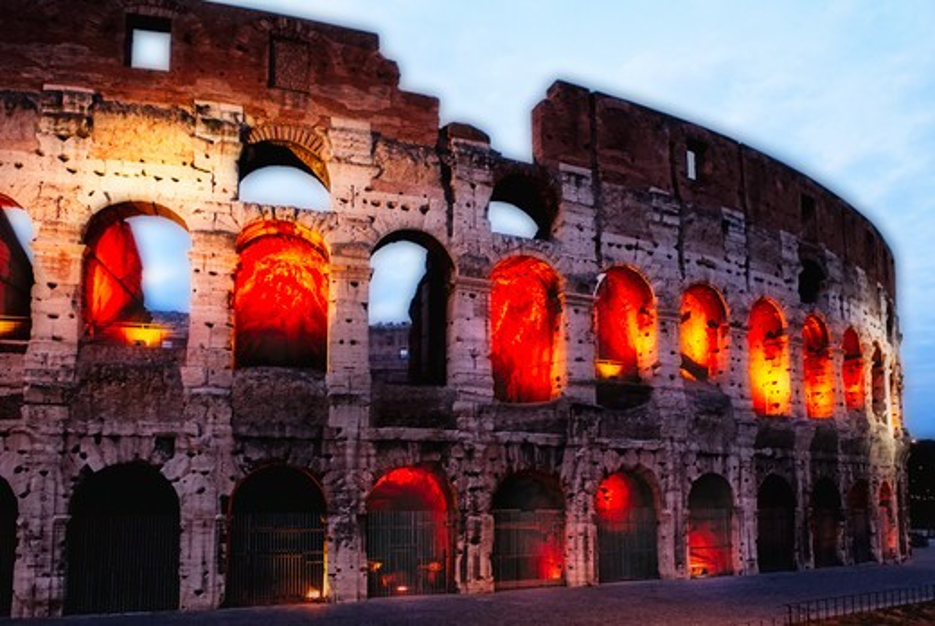 Stock Photo: 1774-785 Italy, Lazio, Rome, Glowing Arches of Coliseum