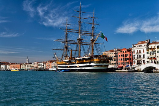 Stock Photo: 1774-786 Italy, Veneto, View of Venice Harbor with Tall Ship Amerigo Vespucci