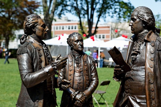 Stock Photo: 1774-789 USA, New Jersey, Colonel Alexander Hamilton and Marquis De Lafayette on Morristown Green, Close Up View Sculpture of General George Washington