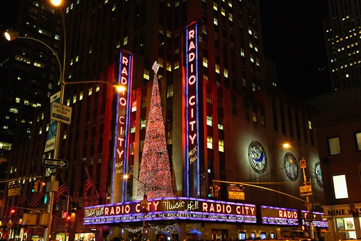 USA, New York State, New York City, Entrance View of Radio City Music Hall with Christmas Decoration : Stock Photo