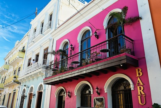 Stock Photo: 1774-796 Puerto rico, Old San Juan, Low Angle View of Facade of Baru Restaurant