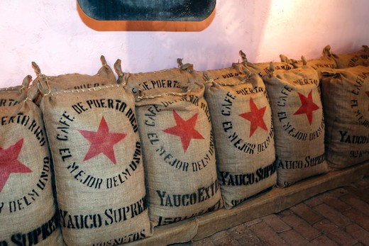 Stock Photo: 1774-798 Puerto rico, Ponce, Bags of Coffee in Storage, Historic Buena Vista Coffee Plantation Museum