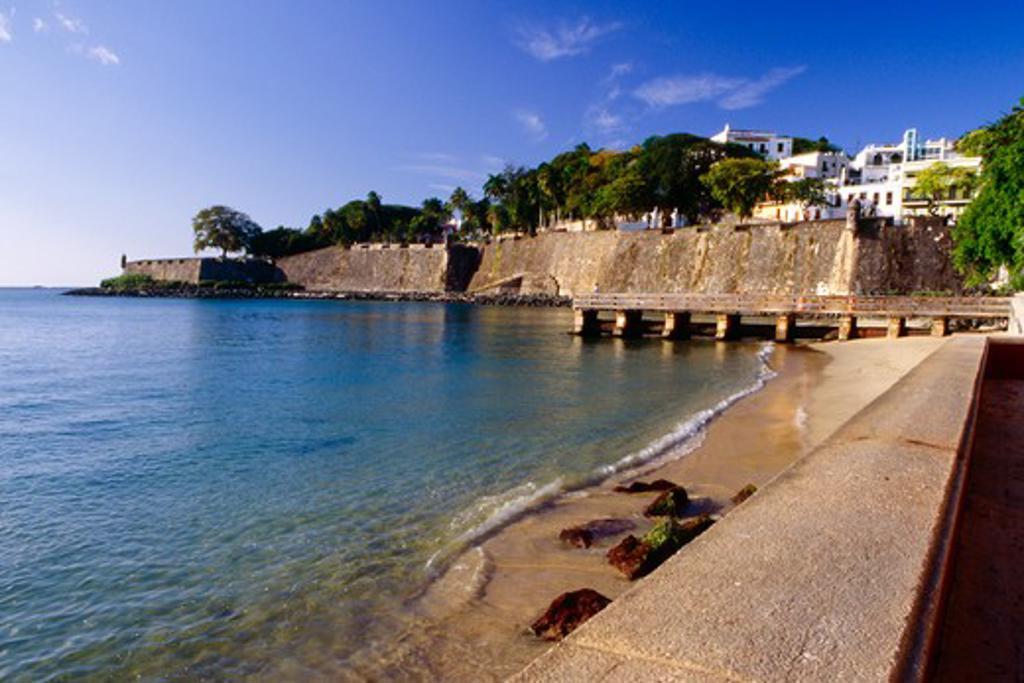 Stock Photo: 1774-802 Puerto Rico, Scenic View of City Walls of Old San Juan Facing San Juan Bay