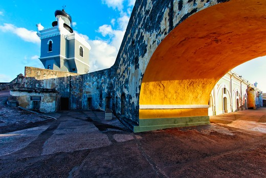 Stock Photo: 1774-804 Puerto Rico, Old San Juan, Lighthouse in Fort El Morro