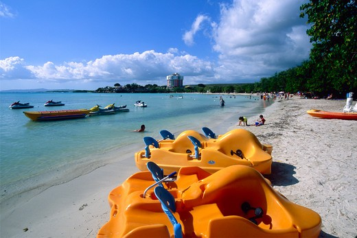 Stock Photo: 1774-807 Puerto Rico, Guanica, Playa Santa, Paddle Boats on Beach