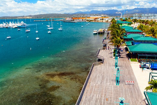 Stock Photo: 1774-810 Puerto Rico, Playa de Ponce, High Angle View of La Guancha Boardwalk