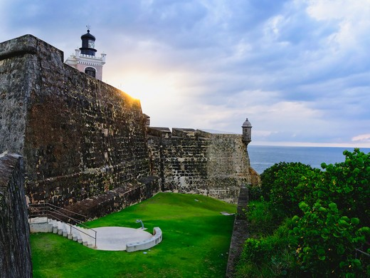Puerto Rico, Old San Juan, Walls of Fort San Felipe Del Morro : Stock Photo