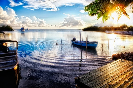 Stock Photo: 1774-815 Puerto Rico, La Parguera, Sunset in Fishing Village