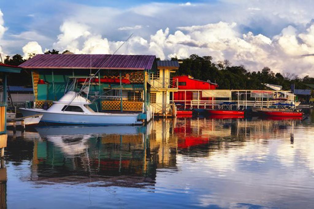 Puerto Rico, La Parguera, Boathouses : Stock Photo