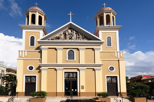 Stock Photo: 1774-817 Puerto Rico, Mayaguez, Frontal  View of Our Lady of Candelaria Cathedral