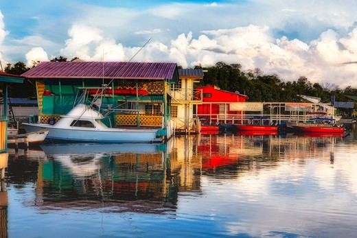 Puerto Rico, La Parguera, Boathouses : Stock Photo