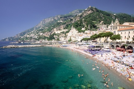 Stock Photo: 1774-822 Italy, Campania, View of beach of Amalfi