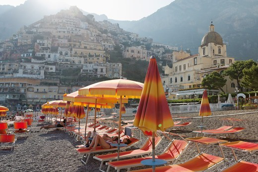 Stock Photo: 1774-823 Italy, Campania, Positano, Lounge chairs and umbrellas on beach