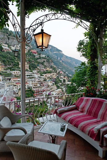 Stock Photo: 1774-824 Italy, Campania, Positano, Armchairs and sofa on hotel balcony