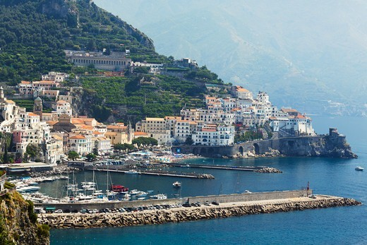 Italy, Campania, View of Amalfi Town with harbor : Stock Photo