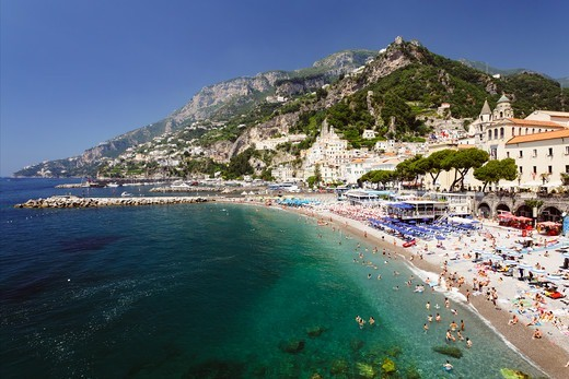 Stock Photo: 1774-826 Italy, Campania, View of beach of Amalfi