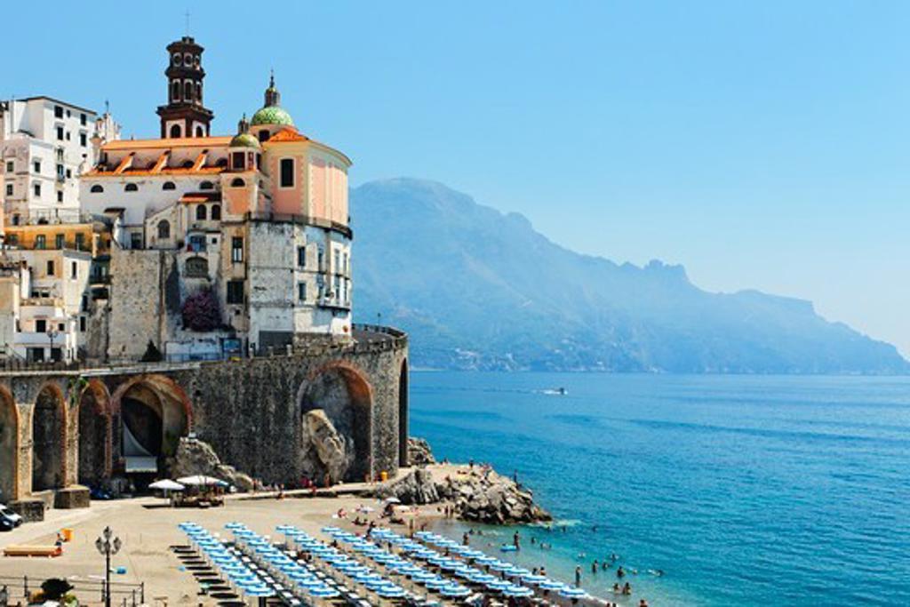Italy, Campania, View of beach of Amalfi : Stock Photo