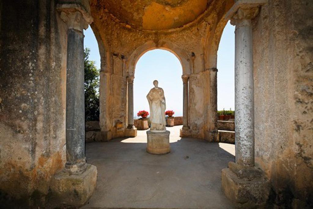 Italy, Campania, Ravello, Antique Garden Pavilion with woman's statue at Villa Cimbrone : Stock Photo