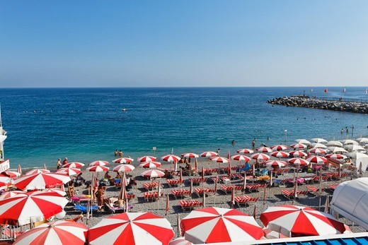 Stock Photo: 1774-835 Italy, Campania, Amalfi, Beach with rows of beach umbrellas and chairs