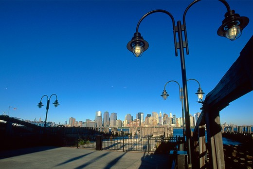 USA, New Jersey, Jersey City, Ferry Piers of Liberty State Park with Manhattan's skyline in distance : Stock Photo