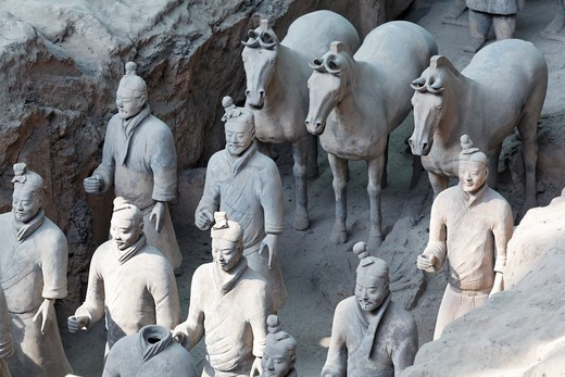 Stock Photo: 1774R-653 China, Xi'an, Terracota soldiers and horses at Qin Shi Huang's Tomb