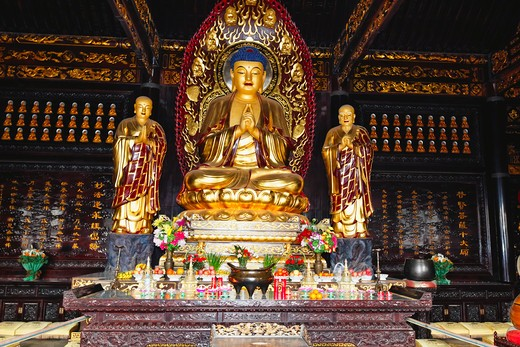Stock Photo: 1774R-656 China, Shaanxi, Xian, Buddha statue in Big Wild Goose Pagoda